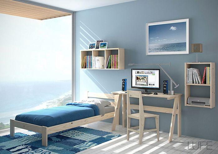 cama individual silla mesa