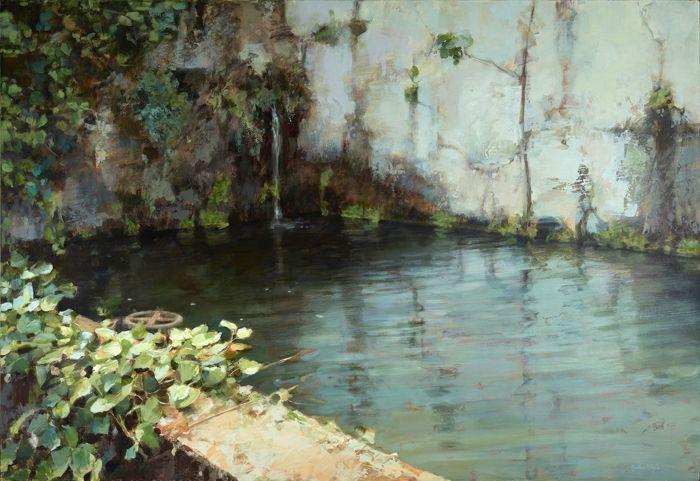 pintura fuente en estanque con hormigon