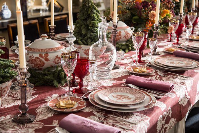 piezas cristal y porcelana fina para mesa navideña festiva