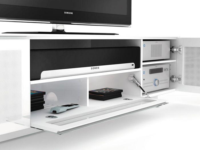 mueble audiovisual ikea blanco con equipo de sonido integrado sonos