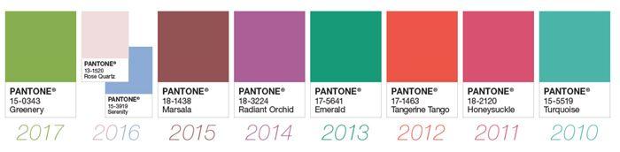 colores pantone de temporadas anteriores