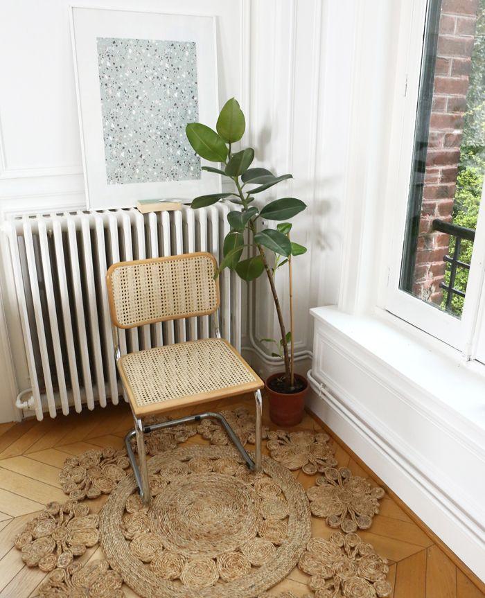alfombra circular mandala planta radiador silla cesca