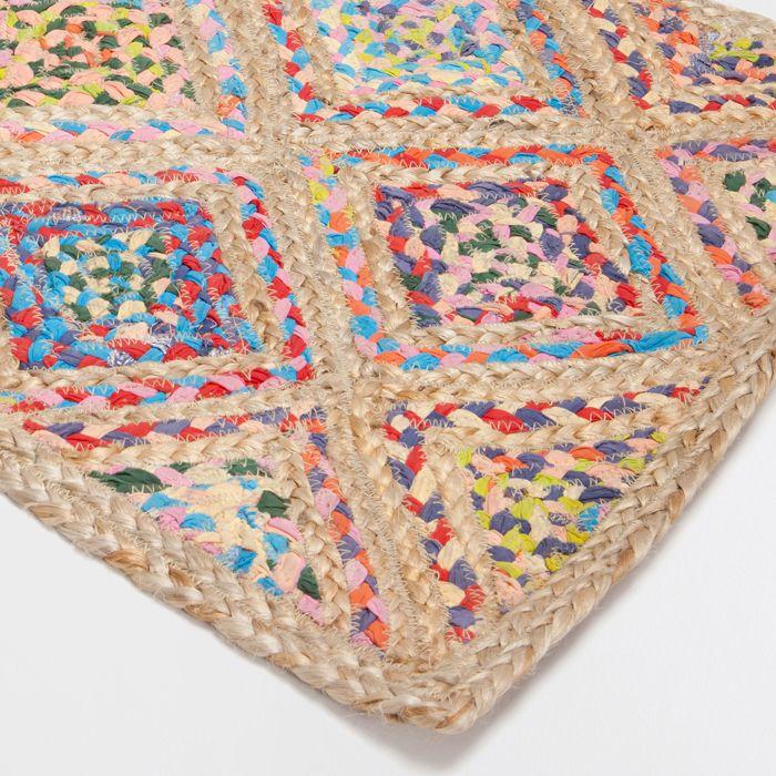 alfombra yute colores rombos rojo naranja azul morado verde tejidos