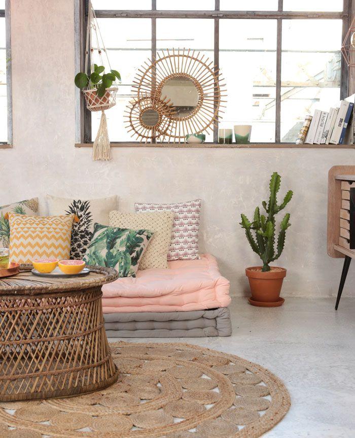 Accesorios para decoración boho: alfombras de yute o fibras naturales