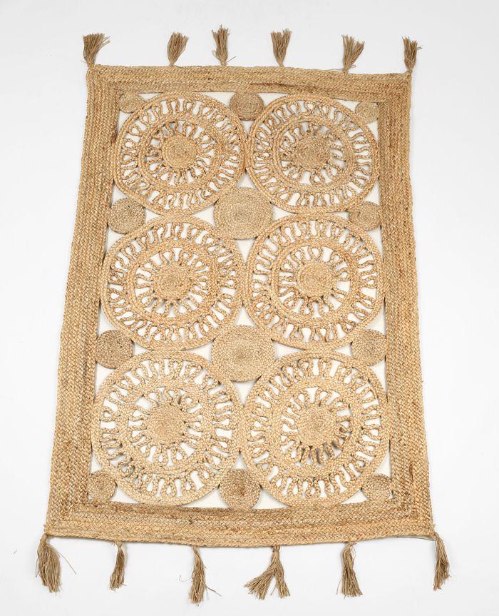 alfombra flecos circulos rosetas natural rectangulo