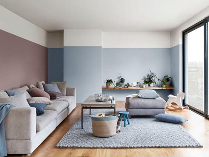 salon, combinación azu,l palo de rosa, sofá, alfombra
