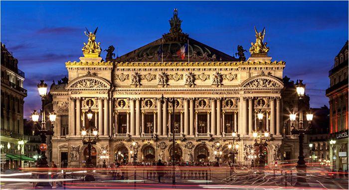 Gran Palacio de la opera, Paris, arquitectura, noche, edificio