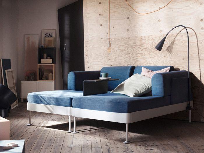 chaise longe doble en tonos azul oscuro y gris