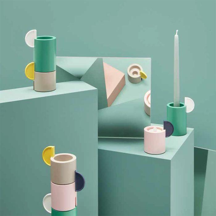 portavelas cilindro ceramica pastel