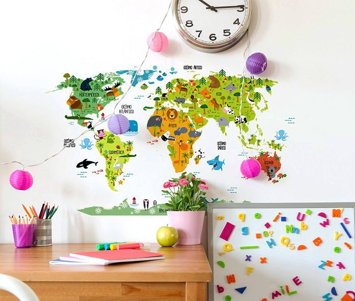 vinilo mapa mundi habitacion infantil