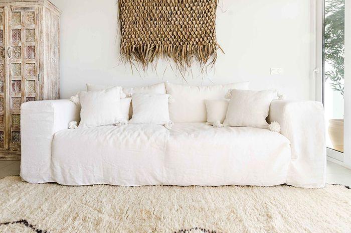 sillon con funda de lino blanco roto