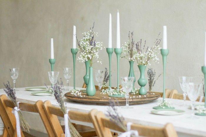 candelabros en verde decoracion boda