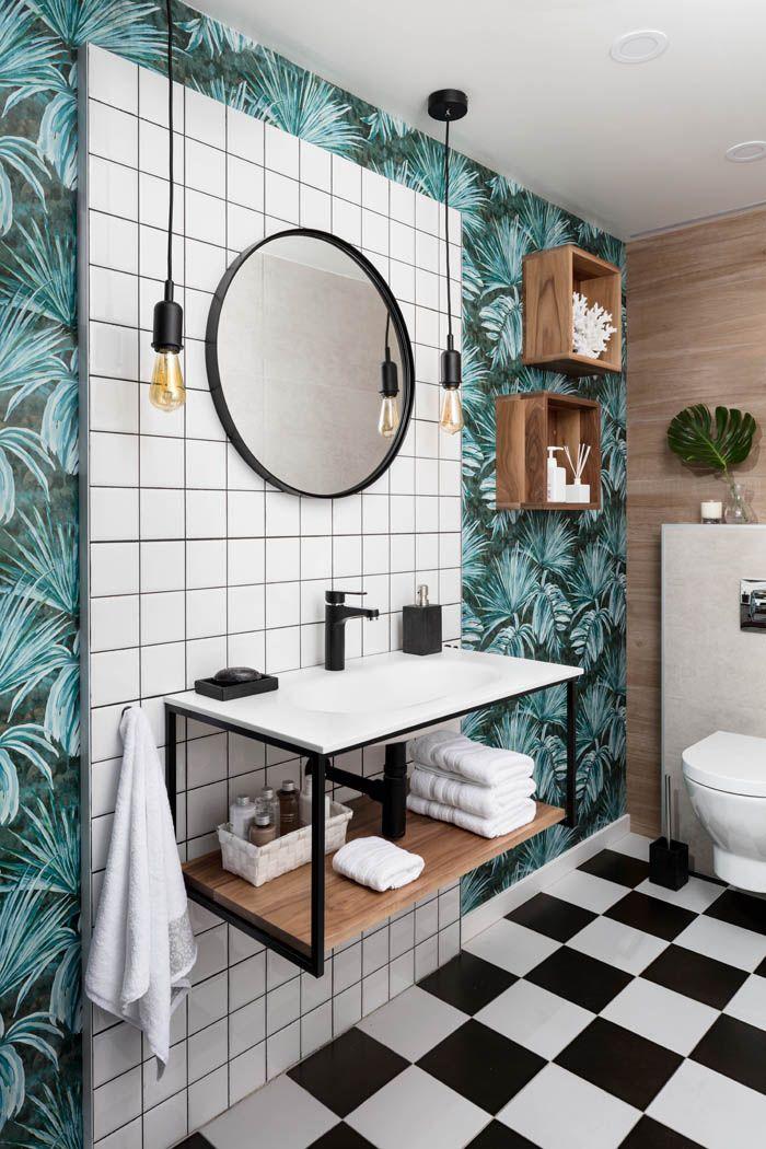 baño papel pintado vegetal espejo redondo lamparas filamento