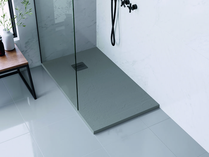 plato de ducha base gris rectangular griferia negra