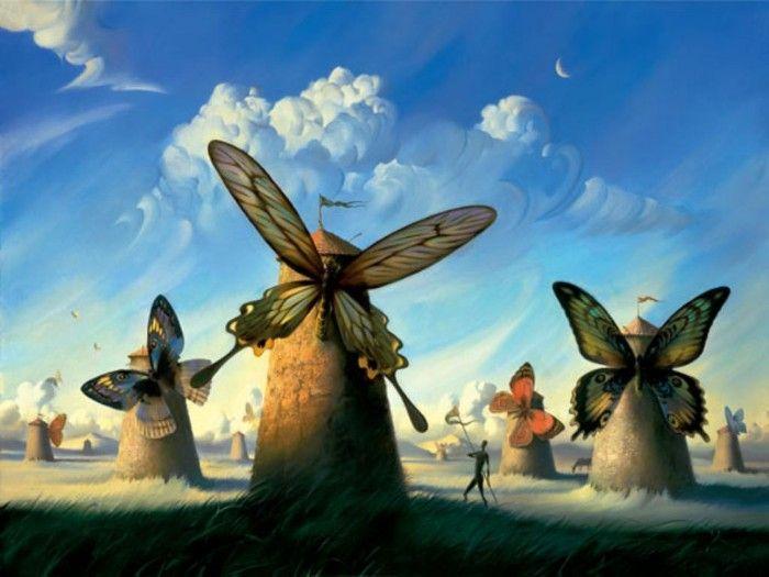 pintura surrealista molinos