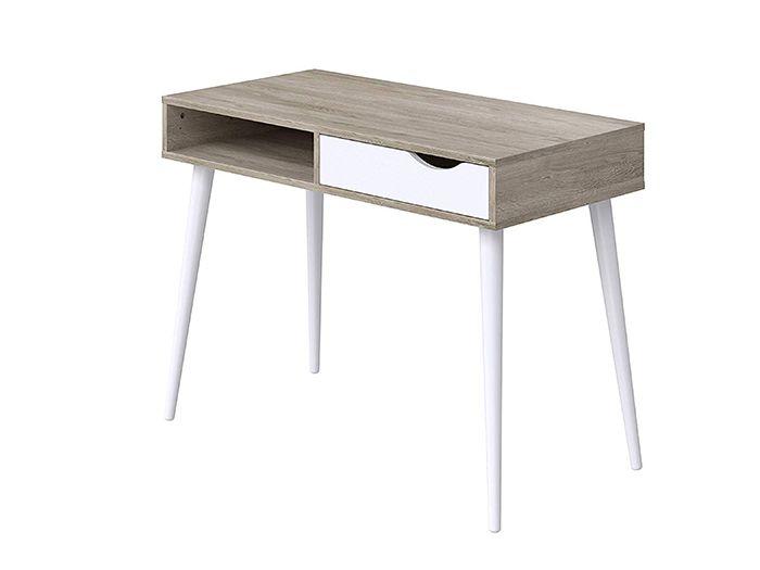 mesa estudio nordica con cajon blanco