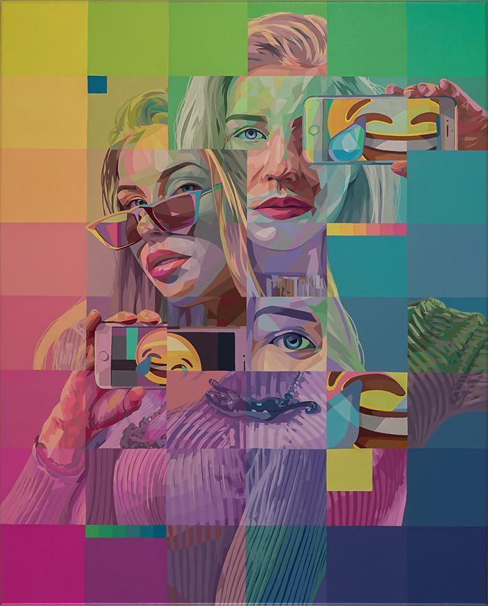 retratos bloques color pop surealista mujer