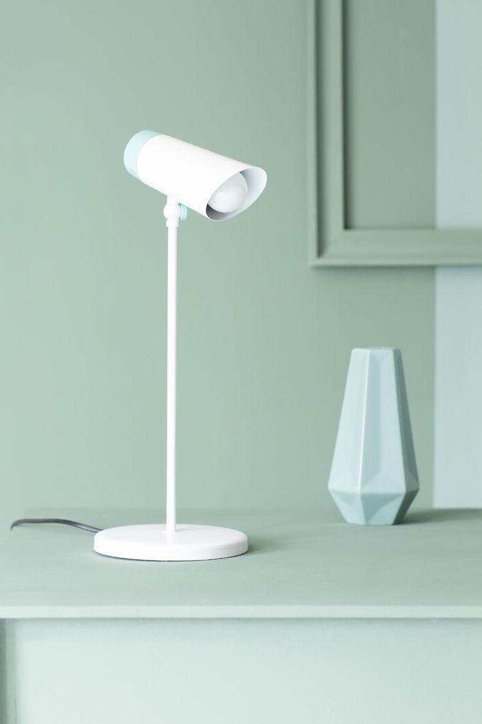 lampara escritorio aguamarina y blanco