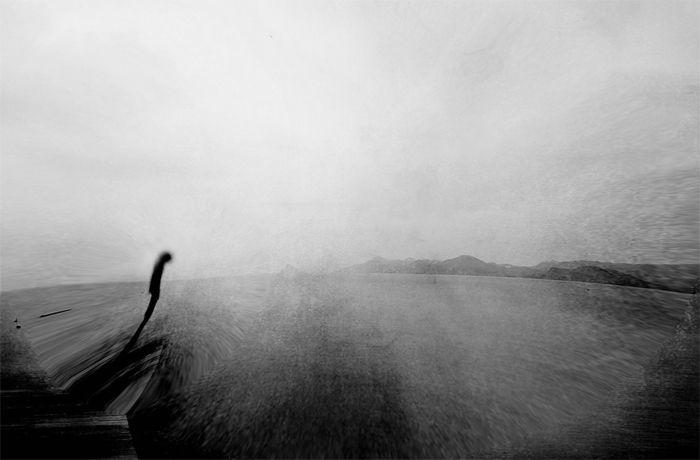 foto blanco y negro silueta barca