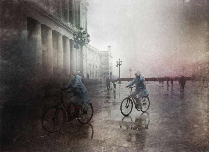palacio real madrid bicis lluvia
