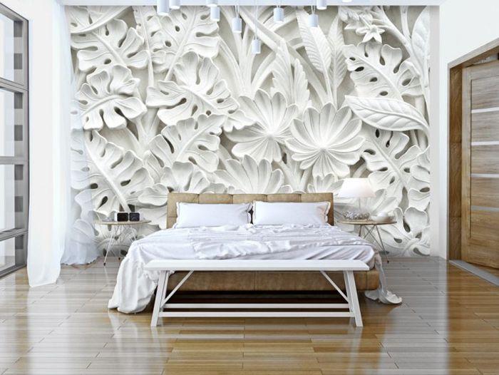 mural de pared hojas monstera blancas