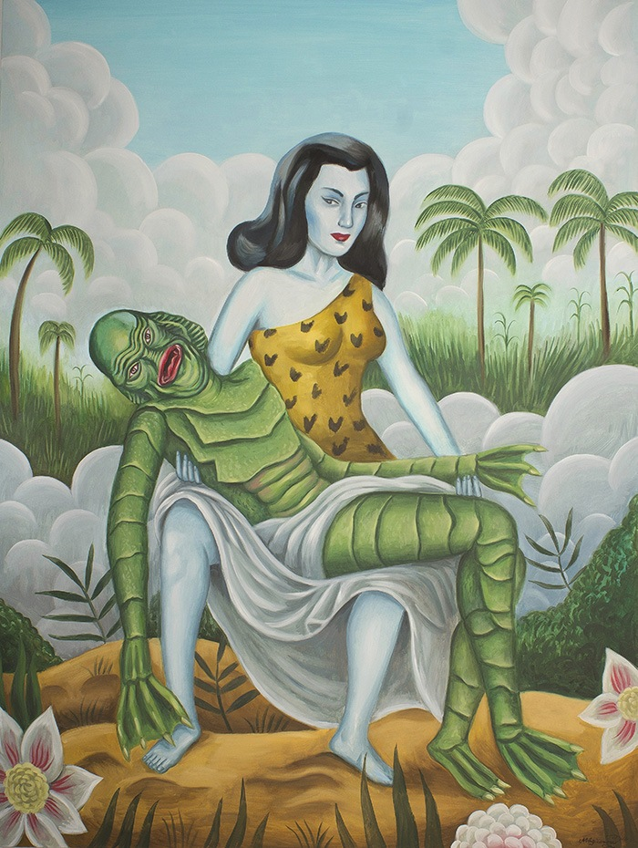 arte mujer sosteniendo alienigena