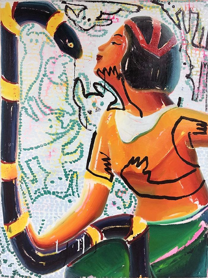 mujer pintura colorista naranja
