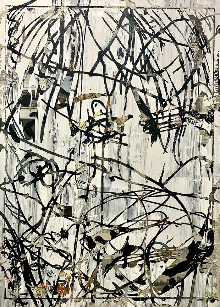 pintura abstracta linea negra