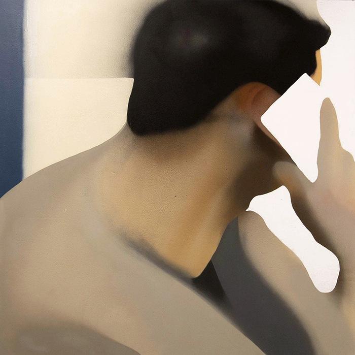 Arte Contemporáneo pintura impresionista hombre con móvil