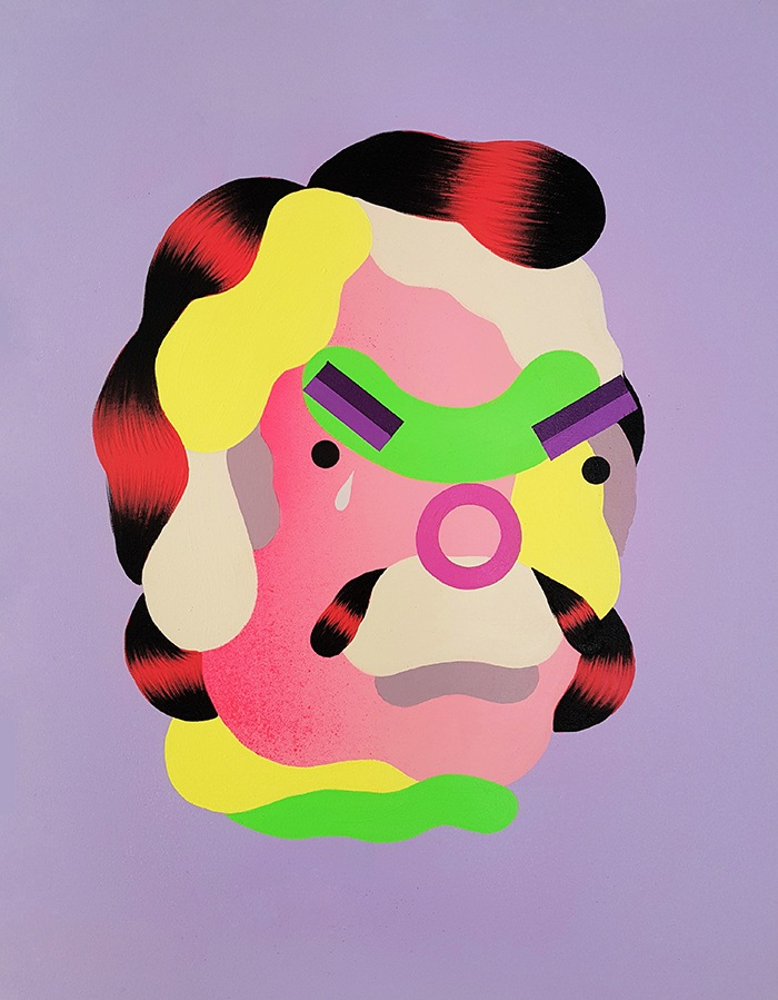 retrato deconstruido colores planos