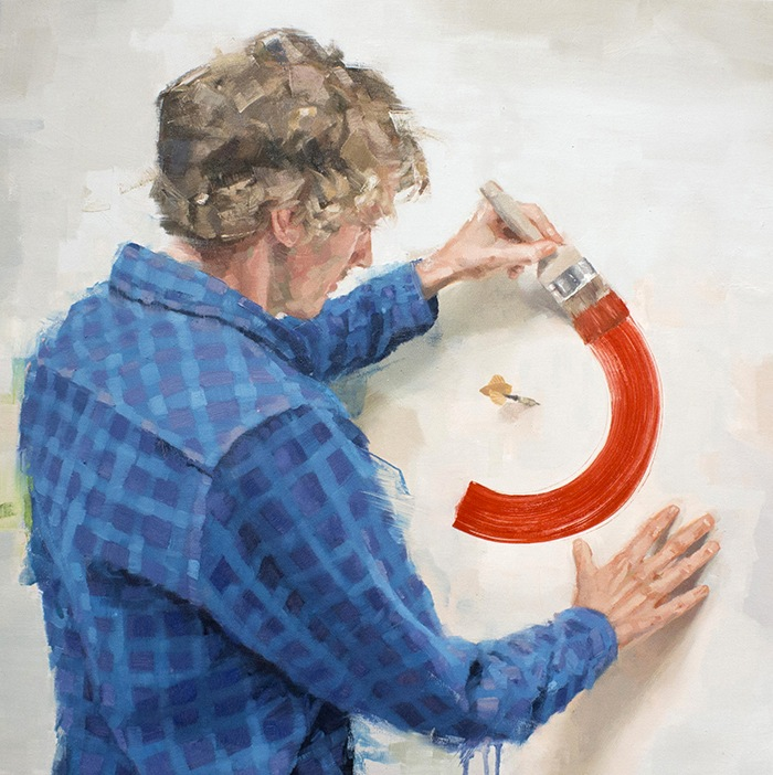 pintura realista hombre pintando pared rojo