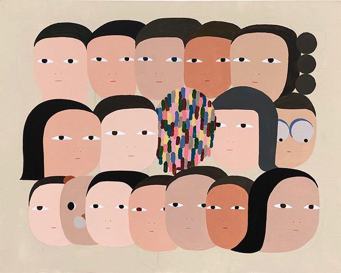 Arte Contemporáneo ilustracion caras planas inexpresivas