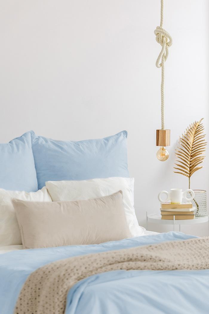 ropa de cama azul organica