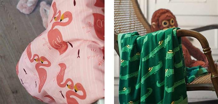 textiles rosa y verde cocodrilo bebes IKEA
