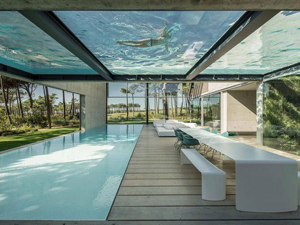 casas impresionantes piscina transparente