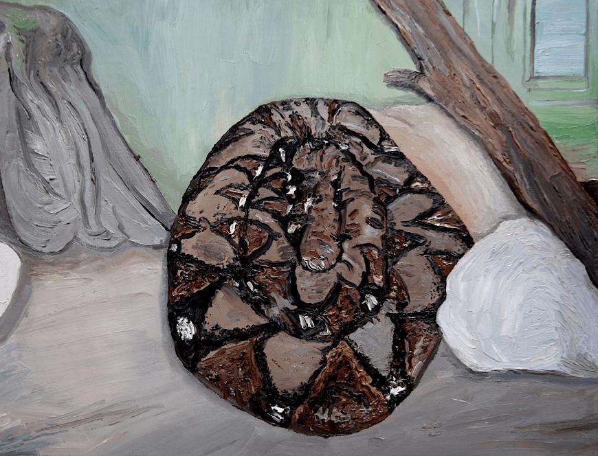 serpiente enroscada pintura