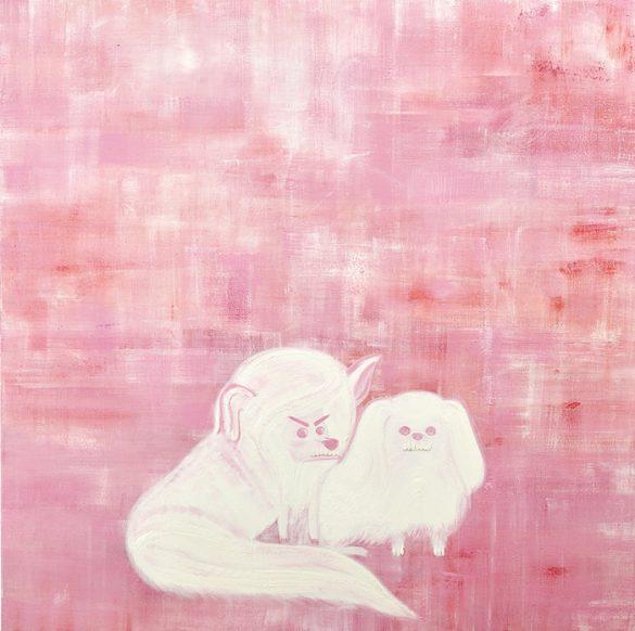 leona blanca sobre fondo rosa