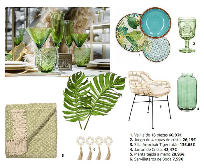 objetos deco verano verde