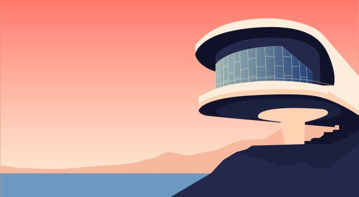 Ilustración de arquitectura moderna armenia