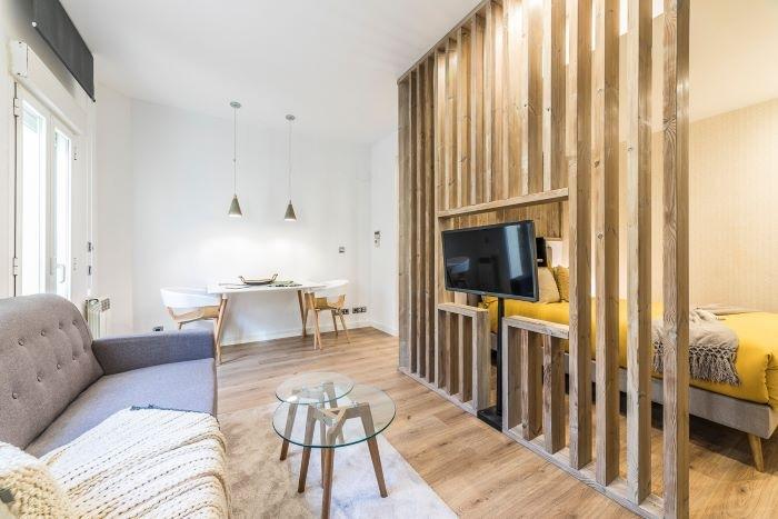 Reforma de un estudio con original separación del dormitorio y salón
