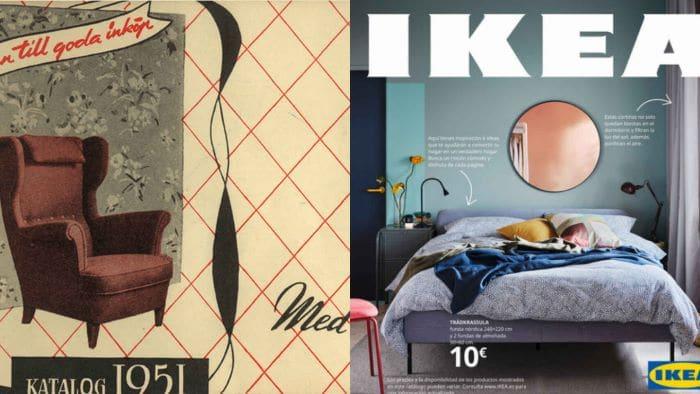 Catálogos IKEA 1951 y 2021