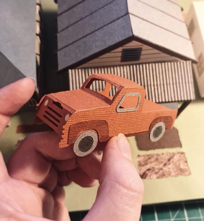 coche en papel