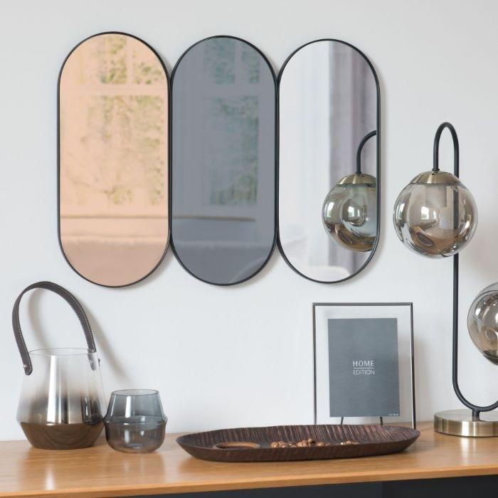 Espejo tríptico ovalado de metal de Maisons du Monde