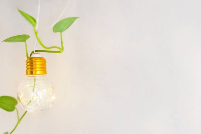 Sostenibilidad bombilla LED encendida