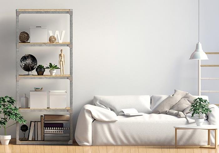 Habitación con diseño simple y colores claros